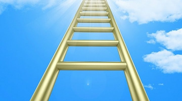 Ladder reaching up into the sky